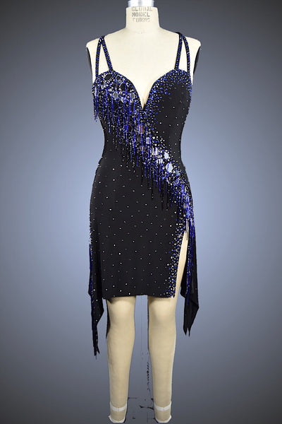 Black with Blue Beaded Fringe and Silver Mirror Treatment - Dress by Randall Designs