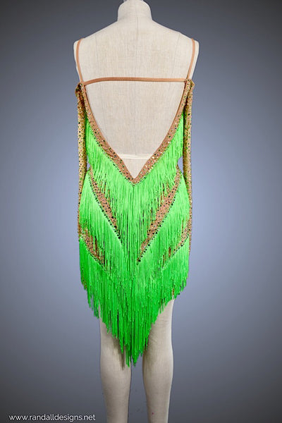 Nude Mesh with Absinth Green Fringe - Dress by Randall Designs
