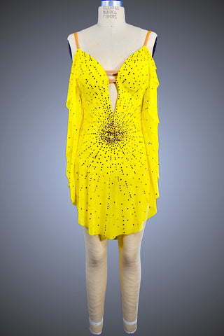 Yellow Mesh Latin or Rhythm Dress with Black Details - Dress by Randall Designs
