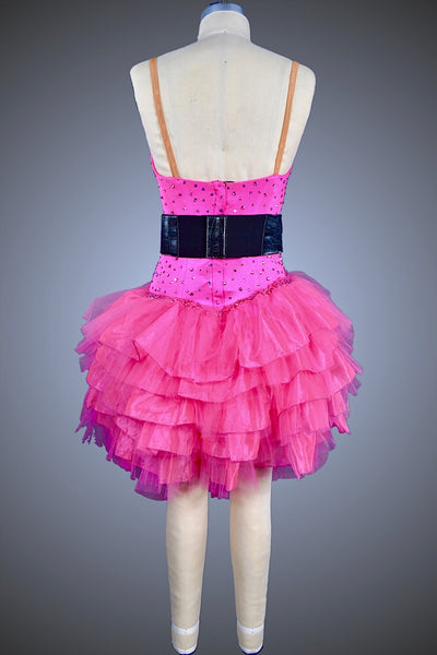 Hot Pink Ruffle skirt with Black Belt - Dress by Randall Designs