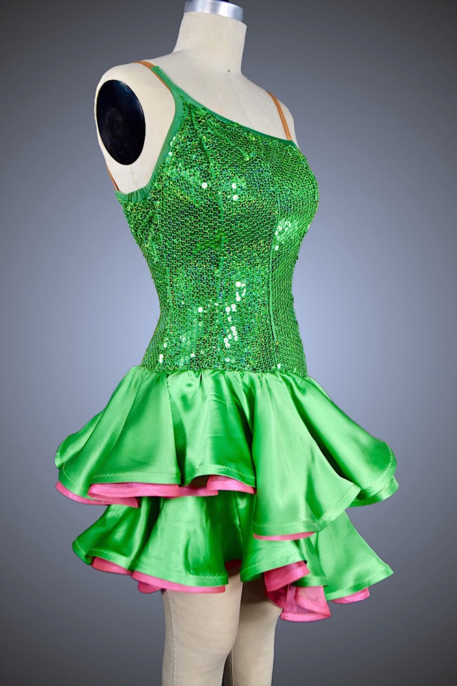 Green Sequin with Green & Pink Ruffle Skirt - Dress by Randall Designs