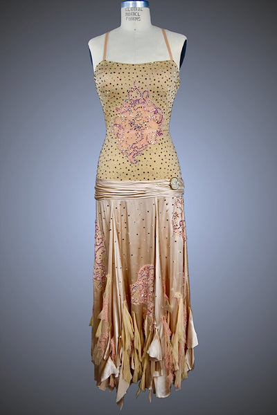 Taupe Silk Gown with Chantilly Lace Accents and Tattered Pieces - Dress by Randall Designs