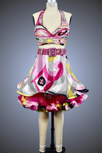Pink, Yellow, & Black Printed Two-Piece with Organza Ruffle Skirt - Dress by Randall Designs