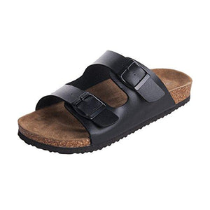 Men's 2-Strap Cork Foot bed Sandal - Black AZ - Sandal Nation