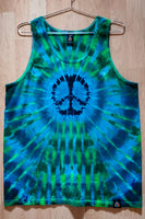 Green and Blue Peace Mens Tank