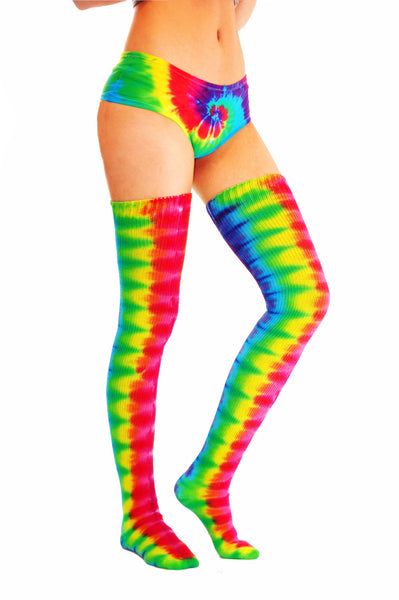 Bright Rainbow Thigh Highs