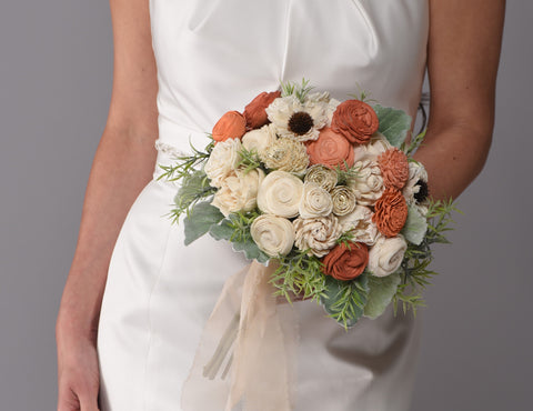Image of The Olivia Wood Flowers Collection Bridesmaid Bouquet Purchase - Bridalbouquets.com