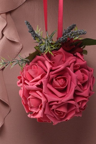 Image of Pomander Ball Pink Roses Rental - Bridalbouquets.com