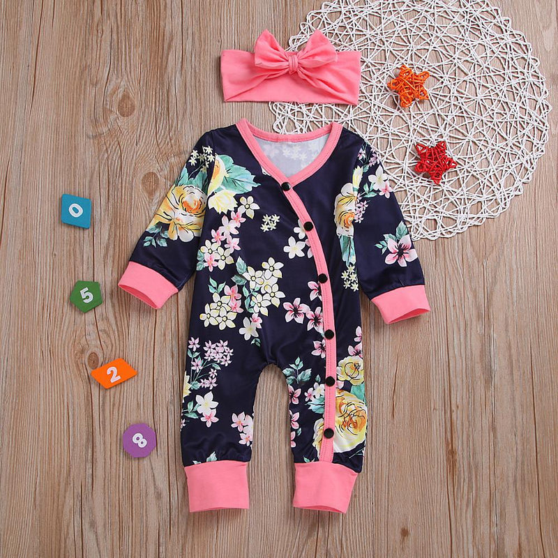 Baby Girls' Floral Long Sleeve Romper