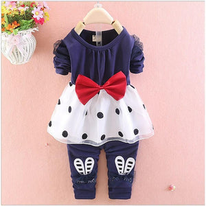 Girls' Cute Polka Dot Long Sleeve Clothing Set - davidissimo