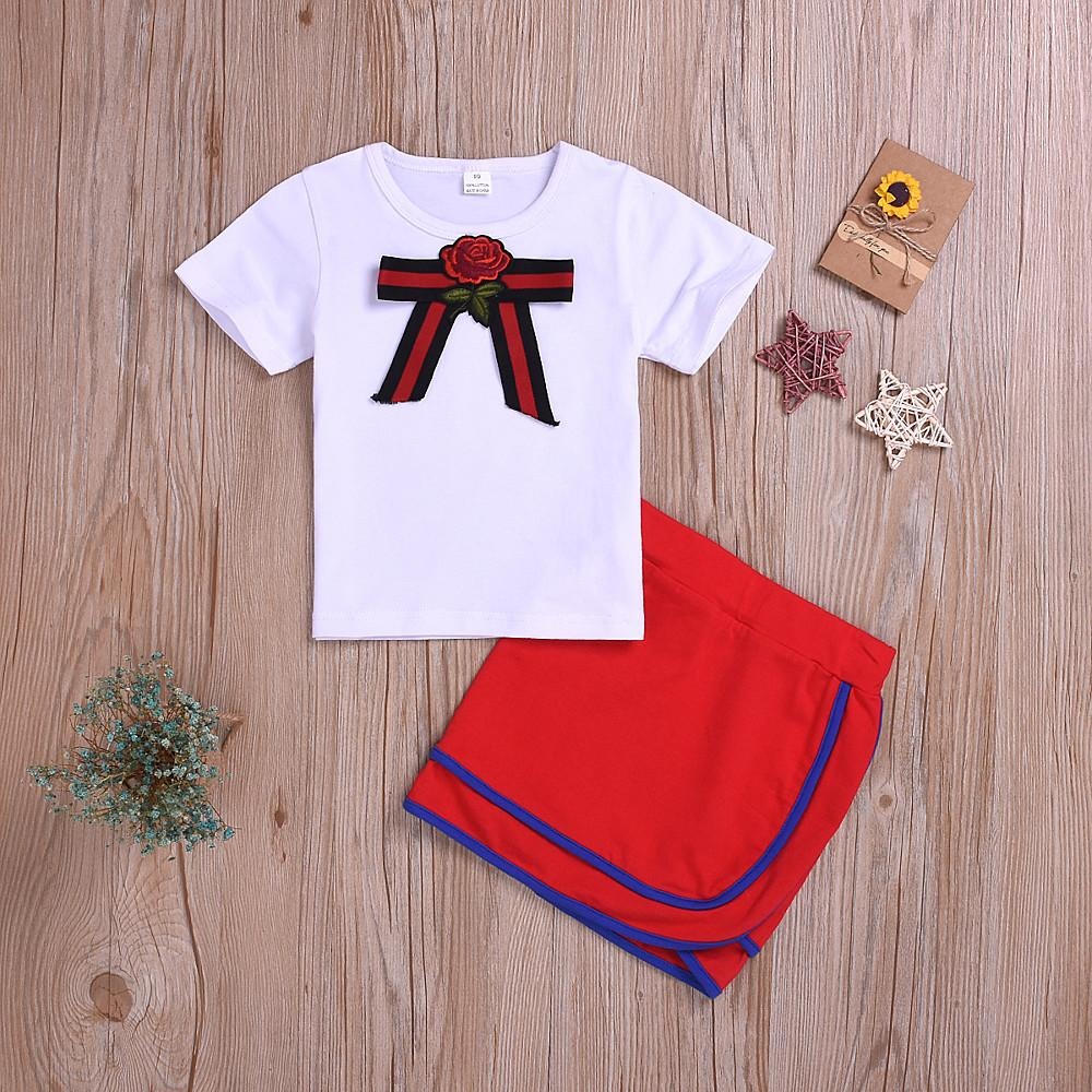 Girls' Sophisticated Bow Print Short Sleeve Clothing Set - davidissimo