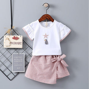 Girls' Drawstring Short Sleeve Clothing Set - davidissimo