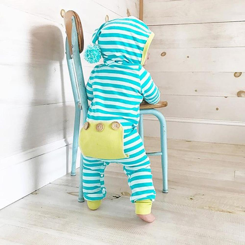 Baby Boys' Active / Basic Daily Striped Stripe Long Sleeve Cotton Romper Blue - davidissimo