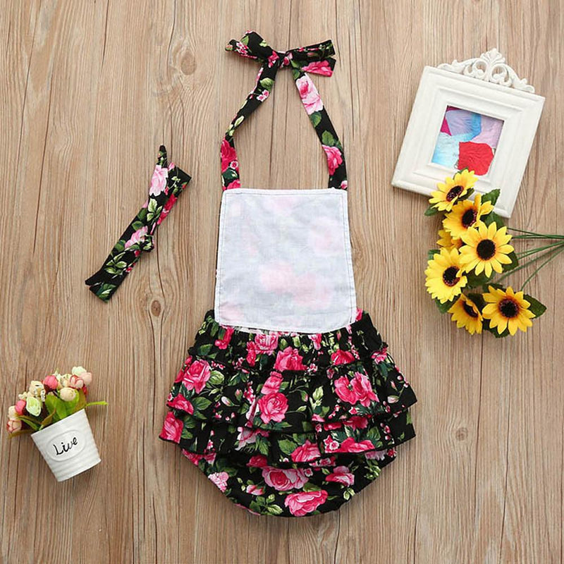 2pcs Baby Girls' Floral Lace Up Sleeveless Bodysuit