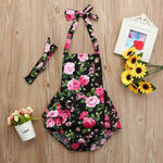 2pcs Baby Girls' Floral Lace Up Sleeveless Bodysuit - davidissimo