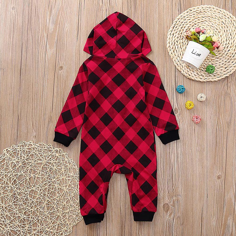 Baby Boys' Basic Plaid Print Long Sleeve Romper Red - davidissimo