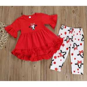Girls' Moo Cow Half Sleeve Clothing Set - davidissimo
