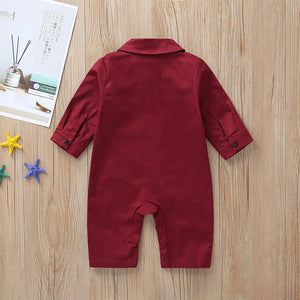 Baby Boys' Active / Basic Solid Colored Bow Long Sleeve Romper Wine - davidissimo