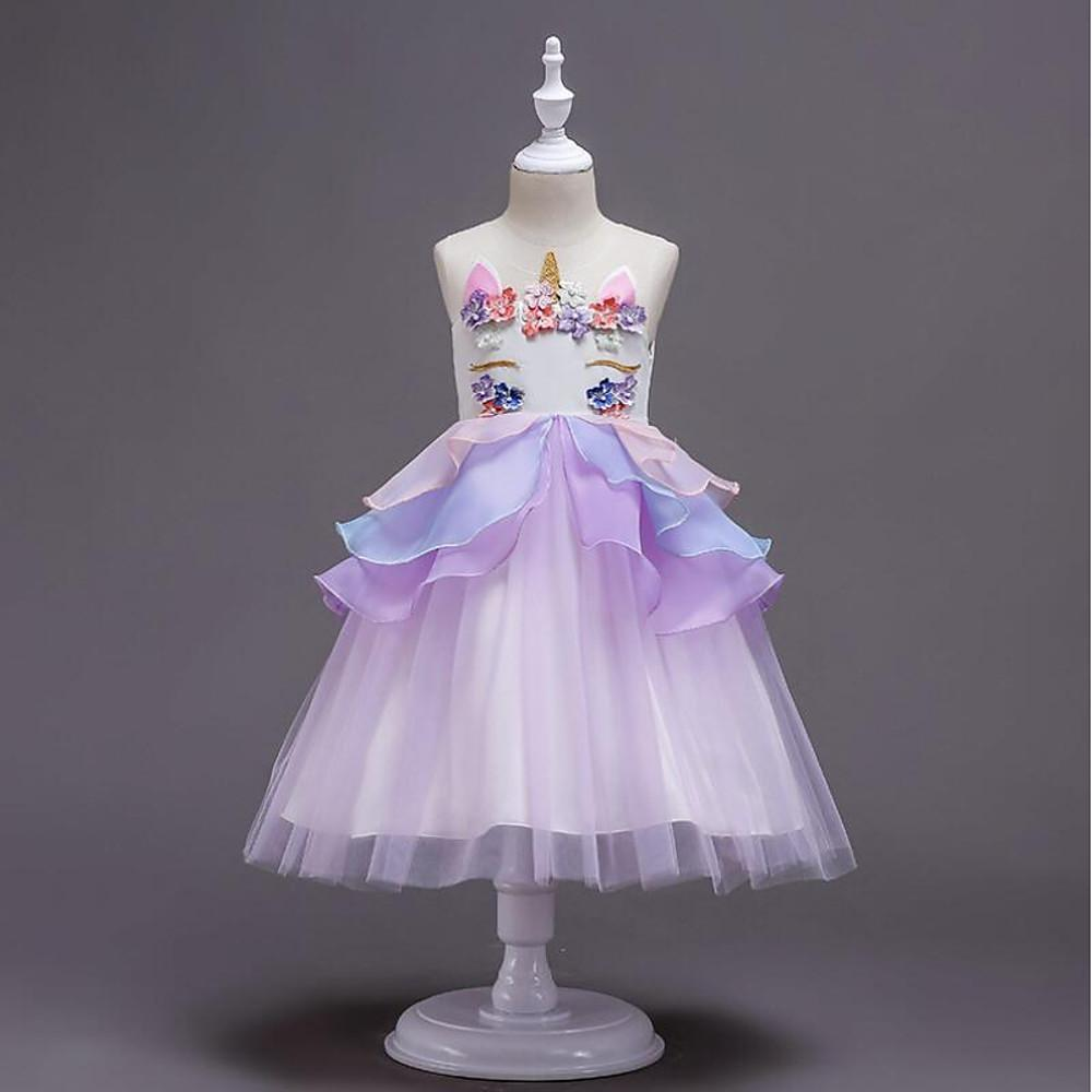 Cute Unicorn Embroidered Sleeveless Knee-Length Dress - davidissimo