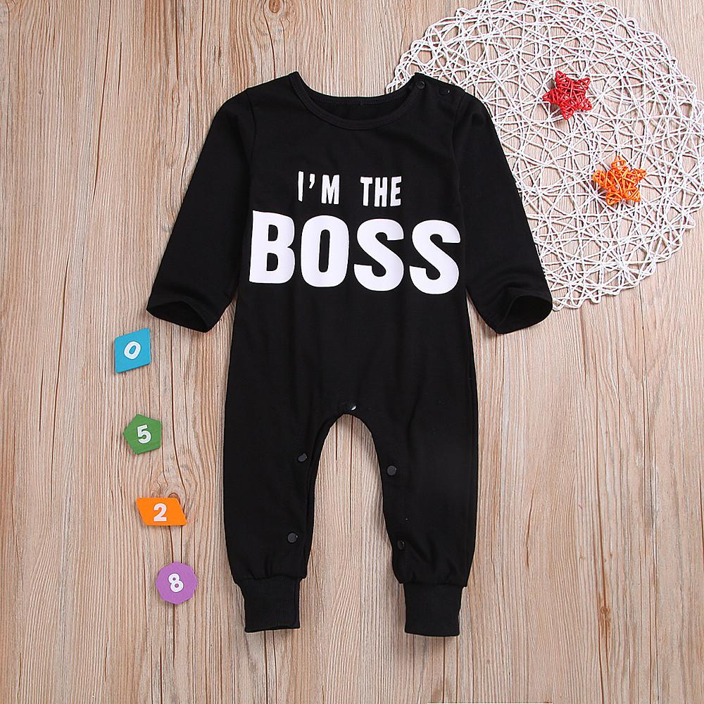 Baby Boys' Basic Print Long Sleeve Cotton Overall & Jumpsuit Black / Toddler - davidissimo