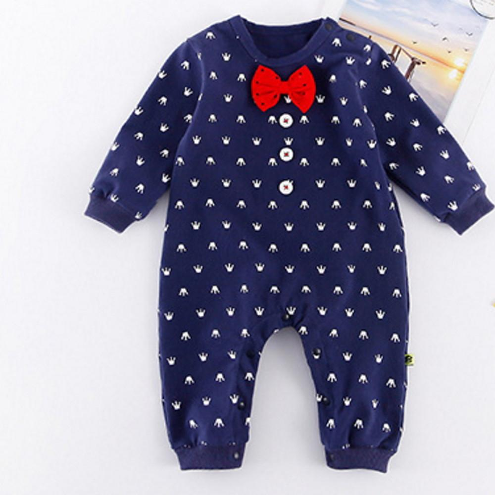 Baby Boys' Basic Print Long Sleeve Cotton Romper Navy Blue - davidissimo