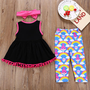 Girls' Troll Doll Print Sleeveless Clothing Set - davidissimo