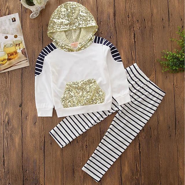 Girls' Sparkling Stripes Embroidered Long Sleeve Clothing Set - davidissimo