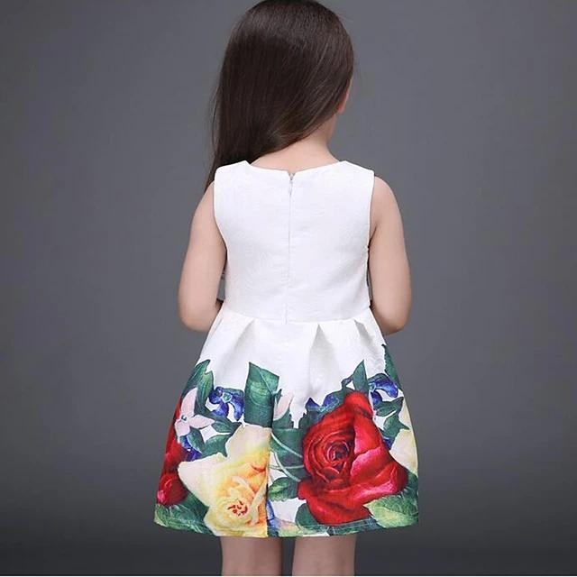 Girl's Sweet Sleeveless Floral White Dress