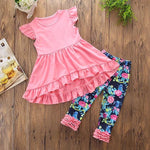 Girls' Floral Ruffles Sleeveless Clothing Set