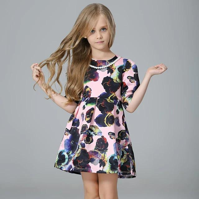 Girl's Floral Half Sleeve Dress Blushing Pink - davidissimo