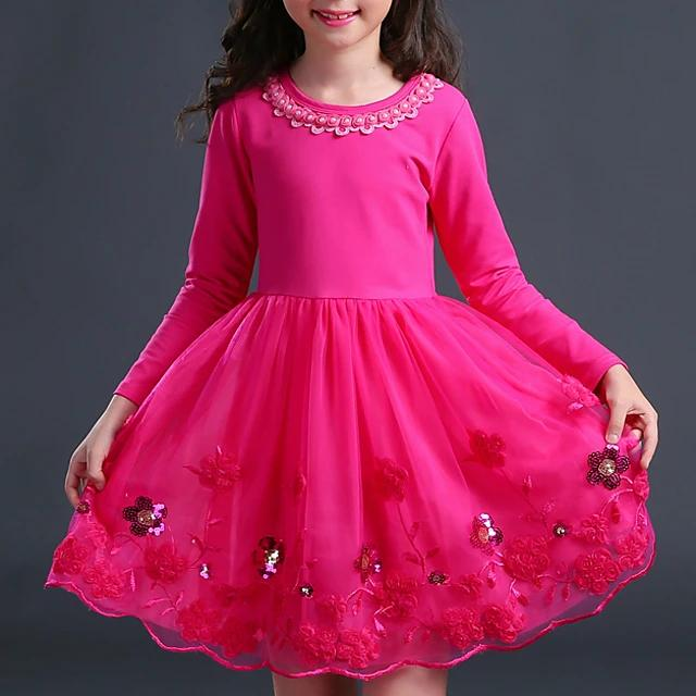 Girl's Floral Long Sleeve Dress Blushing - davidissimo