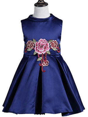 Girls' Sweet Floral Embroidered Sleeveless Dress Royal Blue - davidissimo