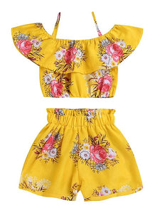 Girls' Spring Flowers Sleeveless Short Clothing Set - davidissimo