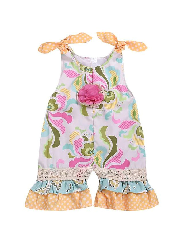 Baby Girls' Lace Trims Sleeveless Overall & Jumpsuit