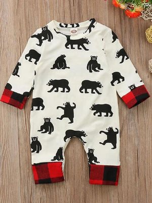 Baby Boys' Active Print Long Sleeve Cotton Romper Beige / Toddler - davidissimo