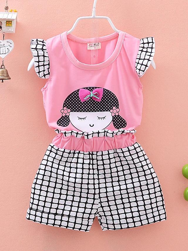 Girls' Peaceful Girl Check Print Short Sleeve Clothing Set - davidissimo