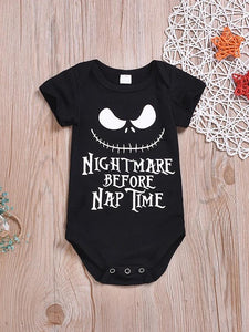 "Boys' ""Nightmare Before Nap Time"" Short Sleeves Cotton Bodysuit - davidissimo"