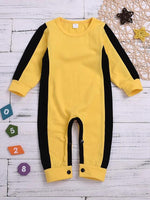 Baby Boys' Basic Solid Colored Long Sleeve Cotton Overall & Jumpsuit Yellow / Toddler - davidissimo