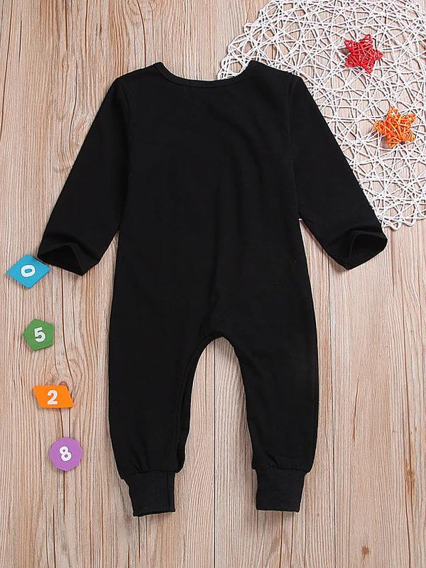 Baby Boys' Basic Print Long Sleeve Cotton Overall & Jumpsuit Black / Toddler