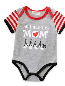 Baby Girls' All I Need Is Mom Striped Short Sleeves Bodysuit - davidissimo