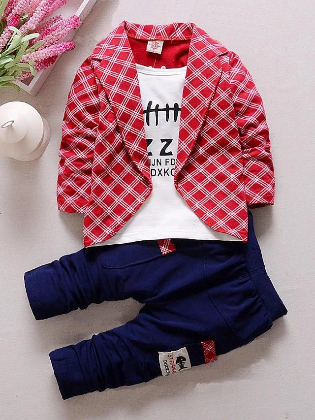 Check Plaid Patchwork Long Sleeve Regular Clothing Set - davidissimo