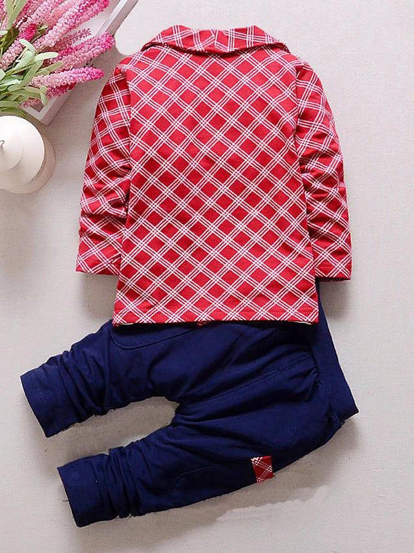 Check Plaid Patchwork Long Sleeve Regular Clothing Set