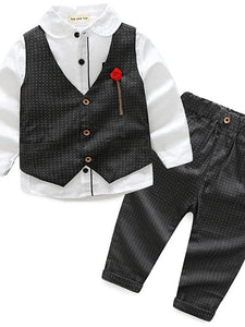 Solid Colored Polka Dot Color Block Patchwork Print Long Sleeve Regular Regular Cotton Clothing Set Black - davidissimo
