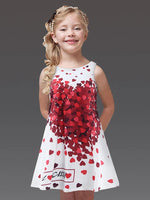 Girls' Heart Print Sleeveless White Dress - davidissimo