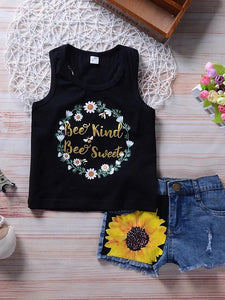 Girls' Sweet Sunflower Kindness Sleeveless Clothing Set - davidissimo