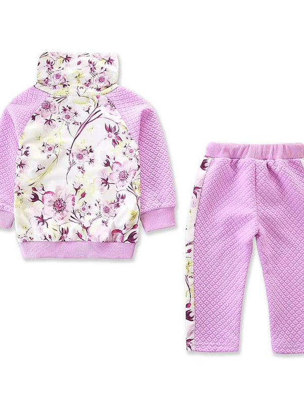 Girls' Sports Floral Print Long Sleeve Clothing Set