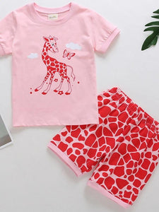 Girls' Little Cute Giraffe Short Sleeve Clothing Set