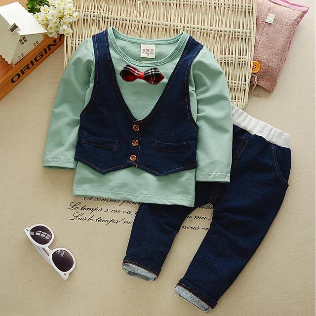 Vintage Style Solid Colored Patchwork Bow Long Sleeve Clothing Set - davidissimo