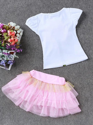 Girls' Sweet Flower Short Sleeve Clothing Set - davidissimo