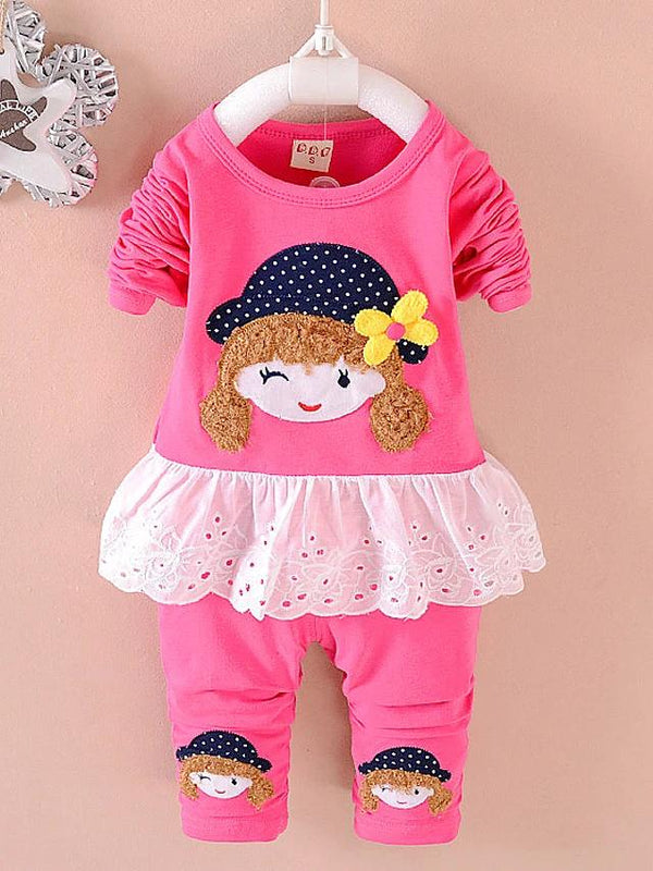 Girls' Cute Girl Polka Dot Long Sleeve Clothing Set